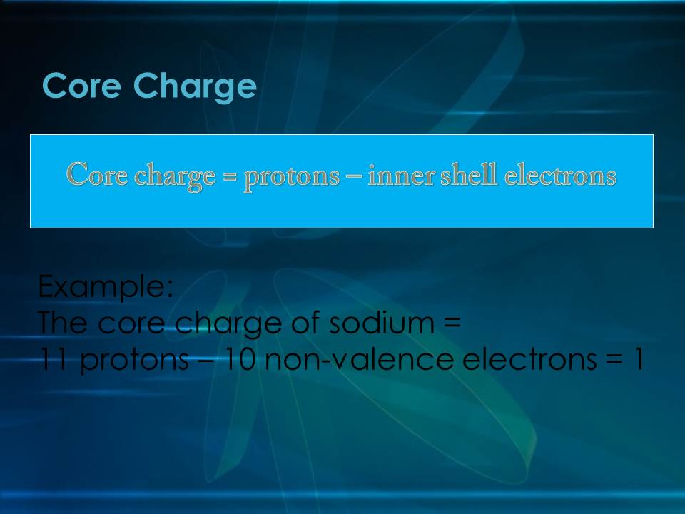 Core charge periodic trends core charge is the attractive force of the nucleus of an atom on the valence electrons it is calculated by taking the number of protons of an atom and urtaz Gallery